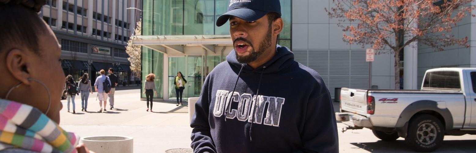 UConn Stamford Student Speaking