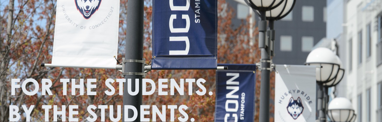 Uconn Stamford Banners in the Fall